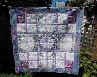 Unique Wall Quilt Made from Vintage Handkerchiefs