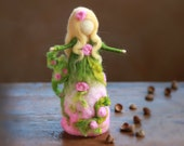READY TO SHIP-Needle Felted Spring Fairy, Angel, Spring, Doll,  Maiden, Waldorf, Spring, Gift, Cloudberrycrafts, Pink,Green, Summer