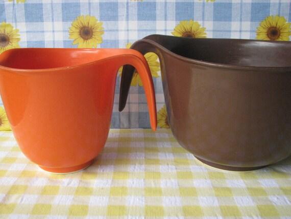 Vintage Batter Bowls Mixing Bowls Handle Rubbermaid Orange