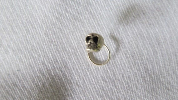 Sterling Skull Nose Ring Victorian Gothic Jewelry Body Piercing Hoop Ring
