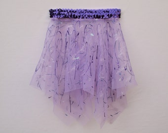 Lavender Handkerchief Style Dance Skirt with Sequins and Glitter