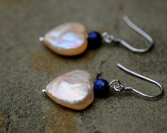 pearl heart earrings, peach pinky heart pearl and lapis bead earrings, dangle pearl heart earrings, valentine's day