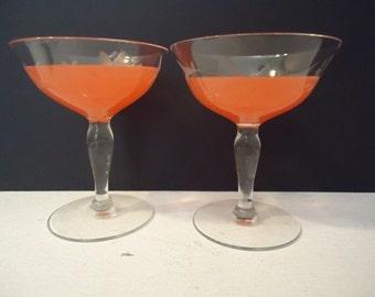 2 Vintage Champagne Glasses, Wedding Toast Glasses