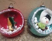 RESERVED Pair of Vintage Christmas Ornaments Diorama PRECIOUS Made in Japan