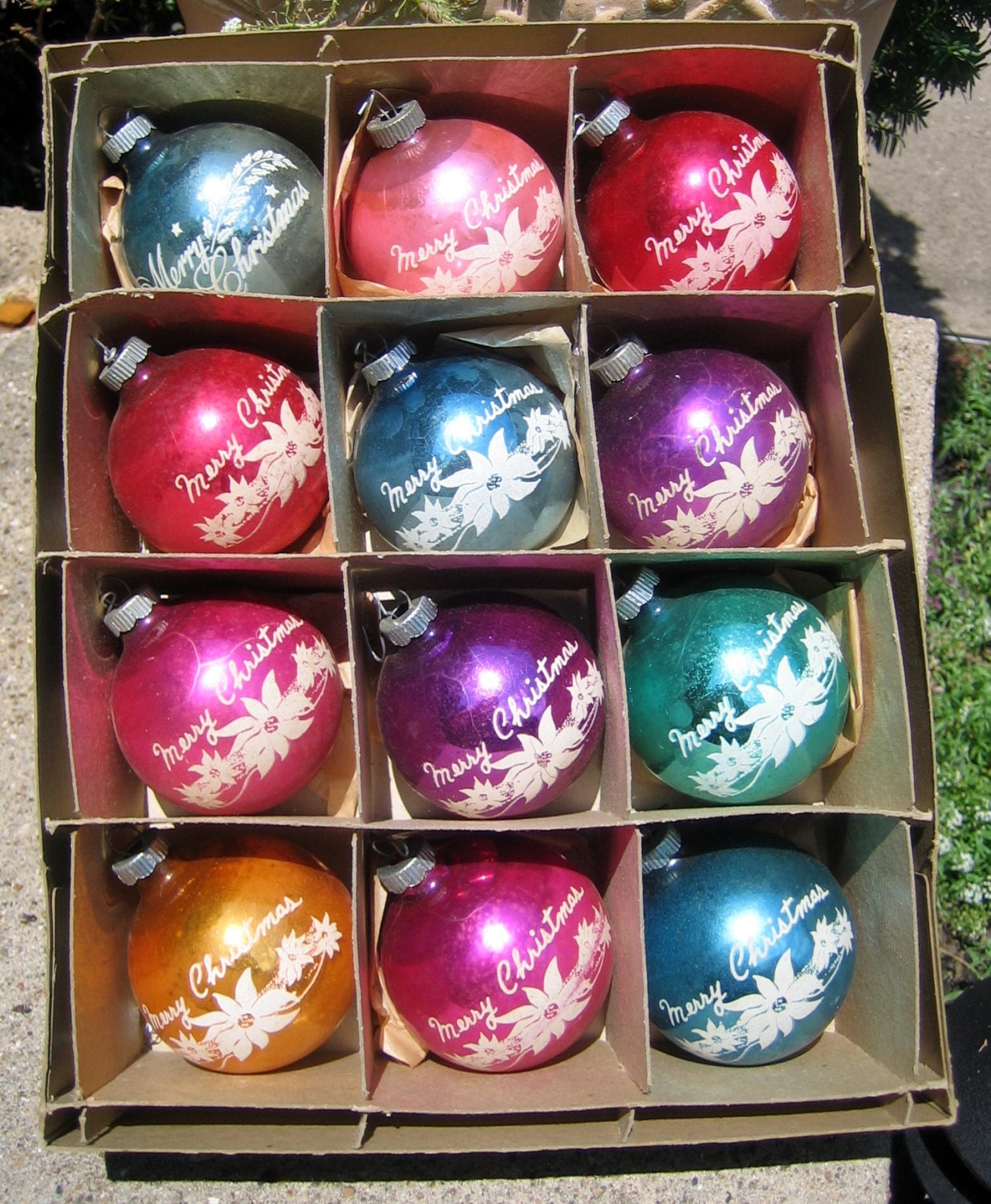 vintage shiny brite christmas ornaments merry christmas rare