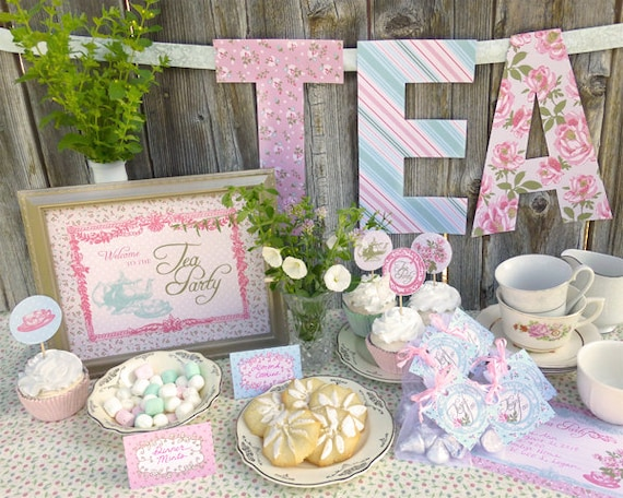 Tea Party Printable Set: Baby Shower, Bridal Shower, or Birthday - Classic Shabby Chic Designs and Vintage Feel