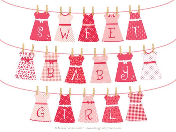 pretty dresses hanging on a line for nursery or shower decoration