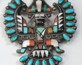 Bolo Zuni Turquoise Native American Ethnic Neckware Jewlery Knifewing