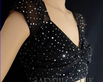 BLACK NET CROP sequin top, bellydance , belly dance, casual, cover up, bolero
