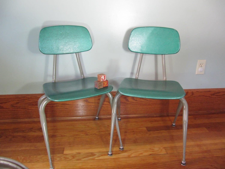 Vintage Metal School Chair Green