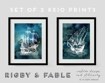 Nautical Vintage Ship Prints - Set of 2 8x10 Unframed Digital Prints
