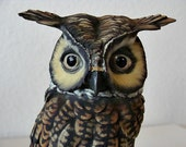 Vintage Italian Owl Figurine Italy Signed By Artist
