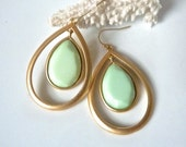 Mint Seafoam Gold Hoop Teardrop Chandelier Earrings. Mint Jewelry for her. Gold and Mint. Bridesmaids jewelry.