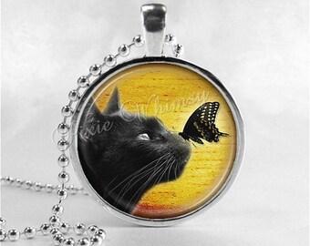 BLACK CAT Necklace, Cat Pendant, Cat Jewelry, Cat Charm, Glass Photo Art Necklace Pendant, Black Cat Jewelry