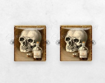 SKULL and WHISKEY BOTTLE Scrabble Tile Cufflinks, Skull Cuff Links, Gothic Cuff Links, Macabre, Mens Accessories, Gifts For Men