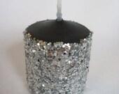 SALE Silver Glitter Votive Candles - Set of Four