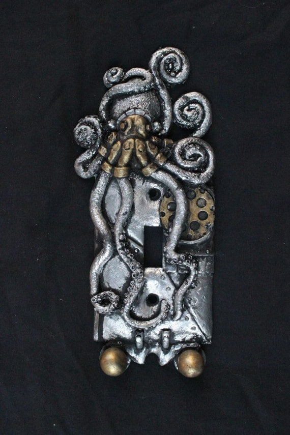 Steampunk Octopus Switch Cover Silver And Gold Patina Wall