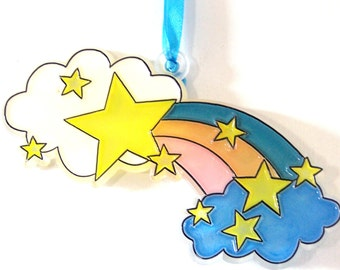 Ornament Clouds Rainbow And Stars1Handpainted Home Decor