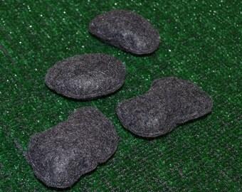 Set of 4 Felt Rocks