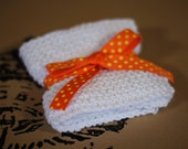 Knitted Dishcloth Set of 3 or Baby Washcloth Natural Soft to Touch - TangerineToes