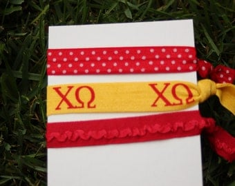 3 Pack Chi Omega Chi-O Red Gold Greek sorority hair ties silver owl charm