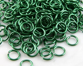 16g 5/16 Green Anodized Aluminum Chainmail Jump Rings 125 Rings