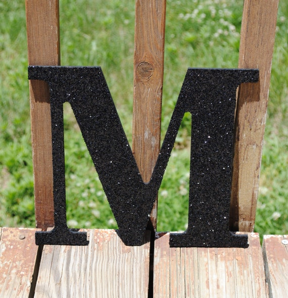 Decorative black 9 glitter wall letters decor for Black wall letters