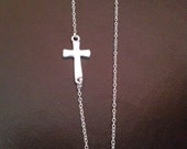 sideways cross necklace,sideway cross necklace,silver cross necklace,horitzontal cross necklace,christmas gift,best friend gift,birthday