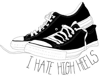 i hate high heels converse shoes drawing Etsy Illustration for the wall