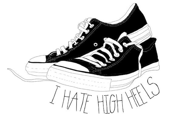 odio los tacones dibujo de zapatillas por memorieswarehouse en Etsy