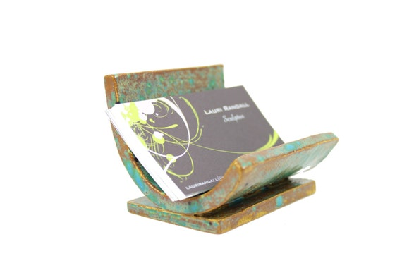 Ceramic business card holder rustic card holder ooak for Ceramic business card holder