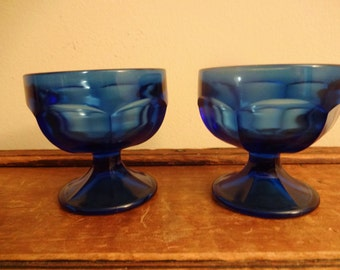 Federal Glass Colonial Panel  Sherbet Dish - Cobalt Blue - Set of Two - Sherbet Glass/Compote/Dessert Dishes