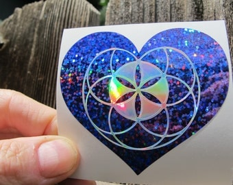 "Seed of LOVE Vinyl Sticker, Prismatic Rainbow Silver On Sparkle Purple,   3"" Size"