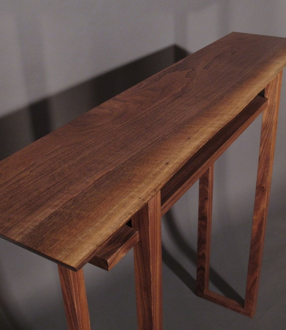 Live Edge Foyer Table : Live edge hall table handmade wood furniture for narrow