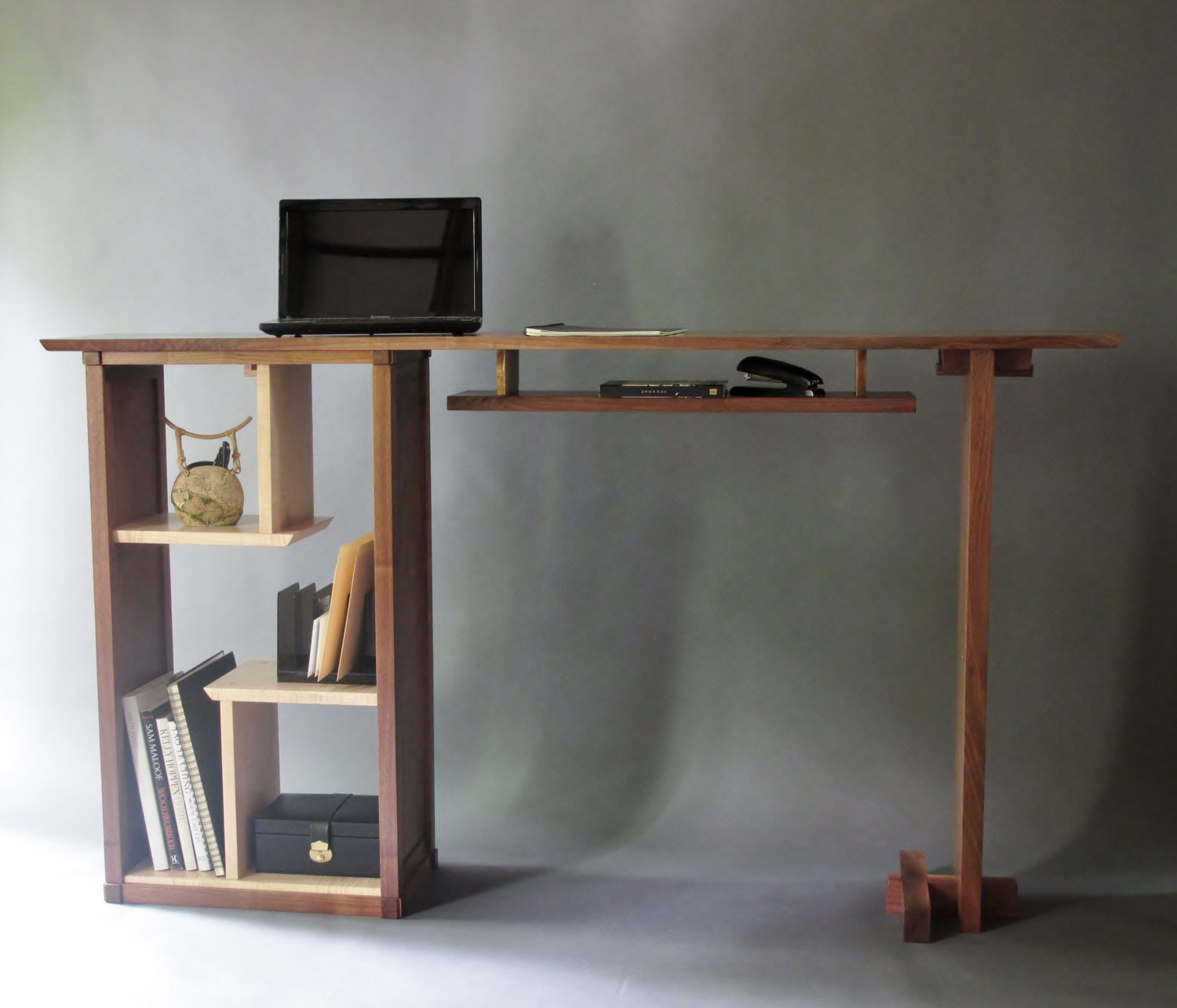 Modern Office Desk: Stand Up Desk In Walnut: Modern Home Office Custom Wood