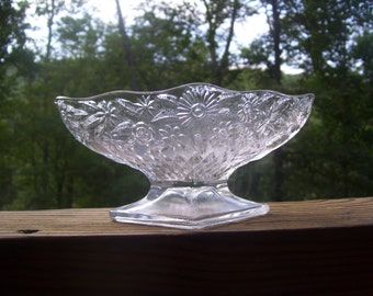 Vintage Indiana Glass Co. Flower and Leaf  footed bowl/compote