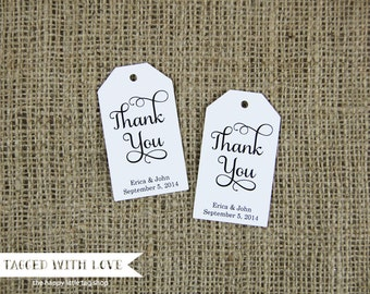 Thank You Tag - MEDIUM Size - Wedding Favor Tag - Shower - Baptism - Christening - Custom Tag -36 Pieces