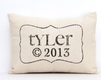 "baby gift, baby pillow, baby shower gift, child's name pillow, personalized pillow, birthday pillow - ""The Tyler"""