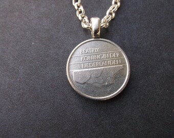 Dutch Netherlands Coin Necklace - Netherlands Pendant  dated 1990 with Bail and Chain