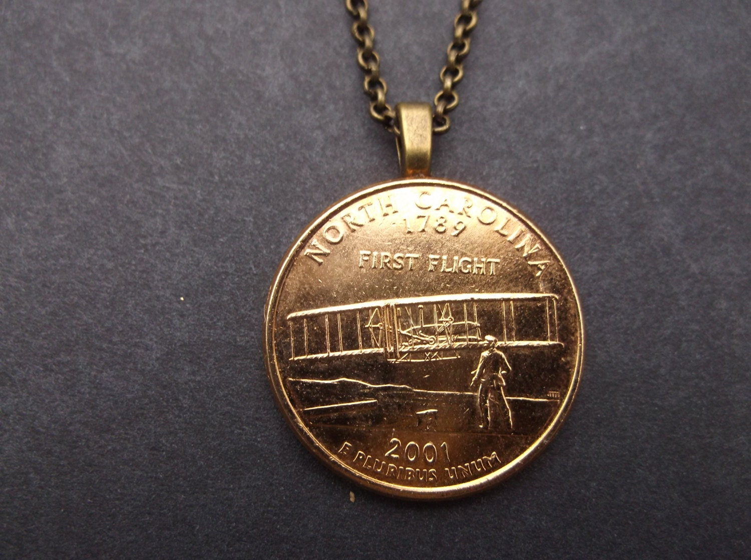United States Gold Colored Quarter Coin Necklace United States
