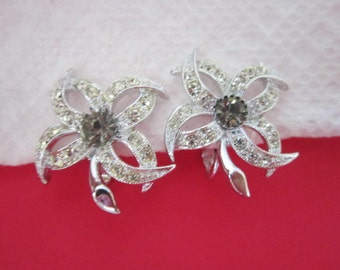 Vintage Sylized Silver Tone & Rhinestone Earrings