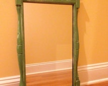 Ethan Allen Signed  Vintage Mirror Painted Sage Distressed  Small Hall