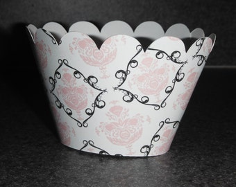 Damask  Cupcake Wrappers Pink and Black Wedding Celebration