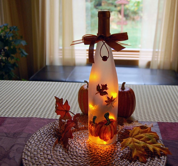 Thanksgiving Decoration Wine Bottle Light Autumn Leaves And