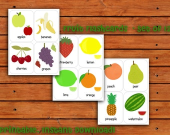 Printable Fruit Flashcards Set of 12 - Instant Download