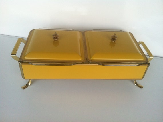 Mid Century Autumn Gold Double Food Warmer