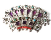 Matilde Poulat Sterling Silver Crown Brooch Signed Matl