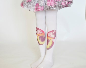Butterfly Girls Tights ,Trend Leggings,Design Stockings, Hand Printed Tights