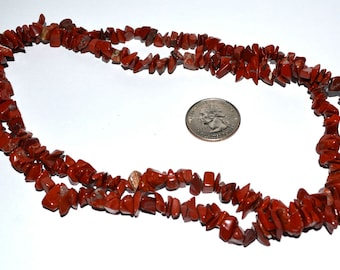 Red Jasper Chip Beads 36 inch strand 5 to 7mm Free United States Shipping