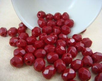 Czech Beads, 6mm Czech Glass Fire Polished Beads - Cherry Red Glass Beads Red Umber (FP6/N-030) - Qty. 25